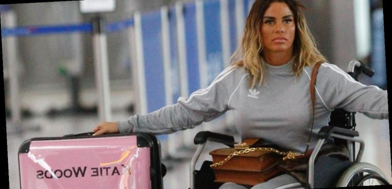 Katie Price sparks marriage rumours as she wheels 'Katie Woods' suitcase on her way to 'baby making' holiday