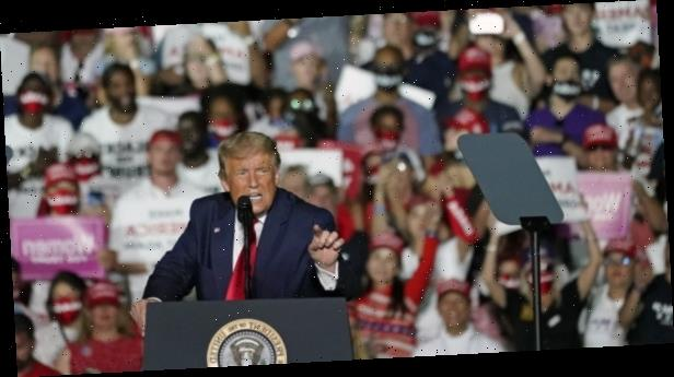 'I'll kiss everyone': Trump holds rally with few masks on show