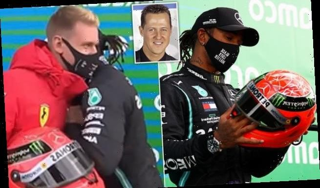 Hamilton stunned as Schumacher's son presents him with father's helmet