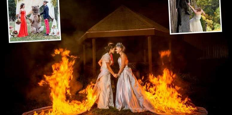 The craziest wedding photos of all time – from brides' dresses set on FIRE to death-defying cliffhangers and wild bears