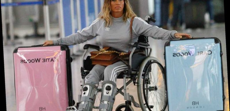 Why is Katie Price in a wheelchair and how did she break her feet?