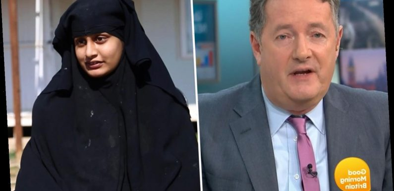 Piers Morgan slams 'dangerous' ISIS bride Shamima Begum as she fights to return to UK from Syria