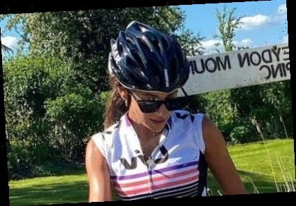 Michelle Keegan shows off her toned body in skintight cycling outfit