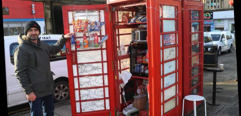 Shopkeeper opens cafe from two telephone boxes after Covid slashed his income