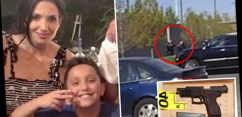 Moment 'addict' gunman and his hostage, 12, 'die in shoot-out with cops' after he shot boy's mom
