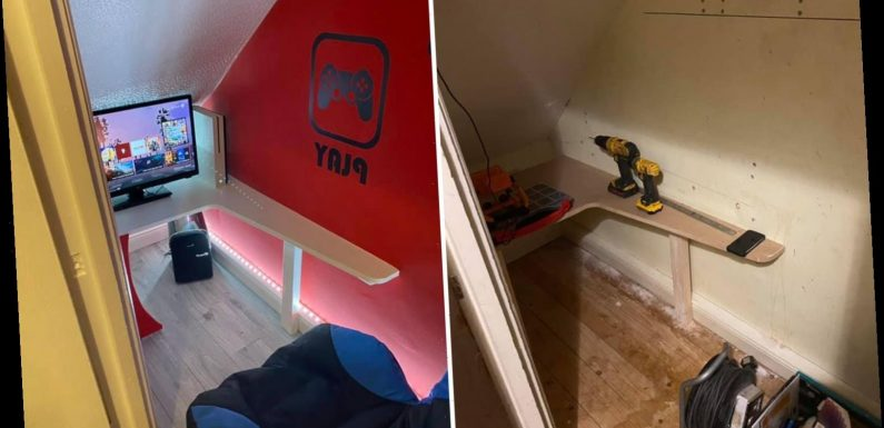Clever mum builds son, 9, a tiny gaming room for just £50 with B&M bargains