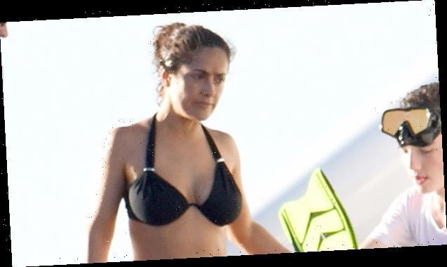 Salma Hayek, 54, MeditatesInA Black Bikini While Hitting The BeachOn Winter Vacation