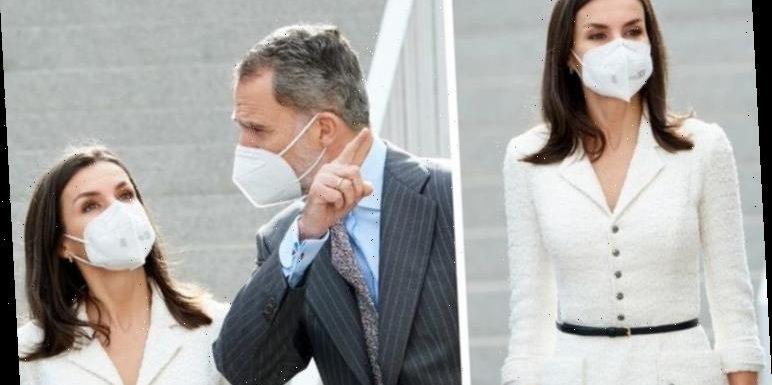 Queen Letizia rewears Felipe Varela white tweed dress for latest royal engagement