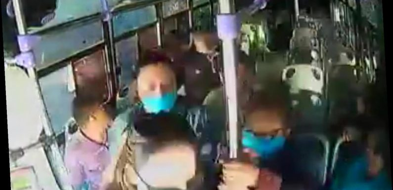Horrifying moment woman is stabbed 30 TIMES by ex-boyfriend on packed bus as passengers flee without helping her