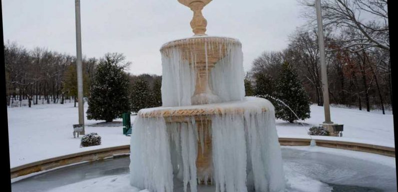 Texas fountain freezes over as snowstorm Uri wreaks havoc across the US