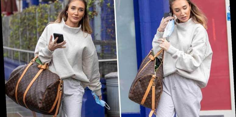 Megan McKenna makes grey tracksuit look glam as she leaves studio after scoring record deal