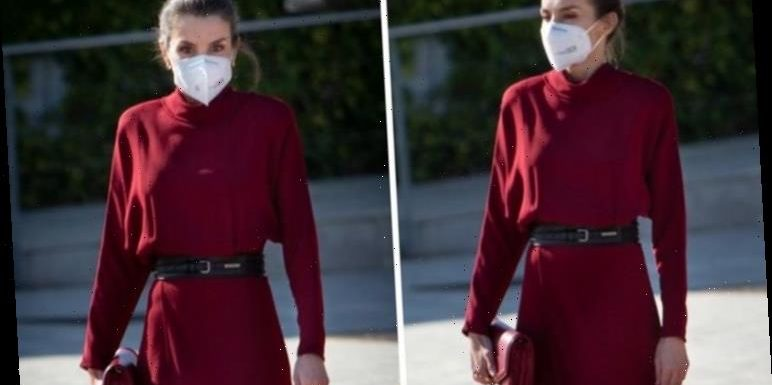 Queen Letizia stuns in dark red Massimo Dutti dress for latest royal engagement