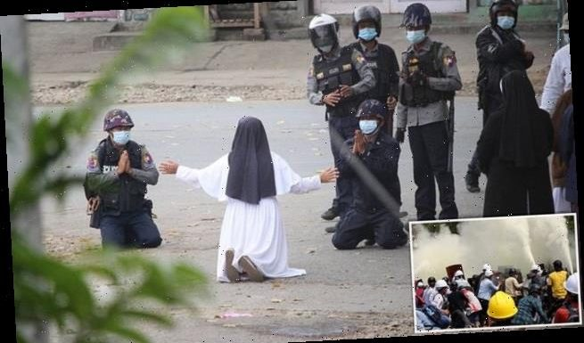Nun pleads with police not to harm protesters in Myanmar