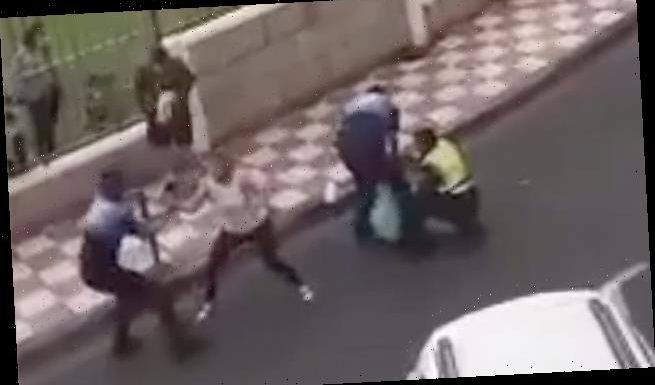 British couple brawl with police in front of their daughter in Spain