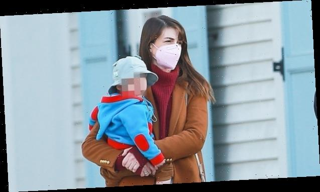 Anne Hathaway Carries Son Jack, 1, In Rare Family Outing With Husband & Older Son Jonathan, 5