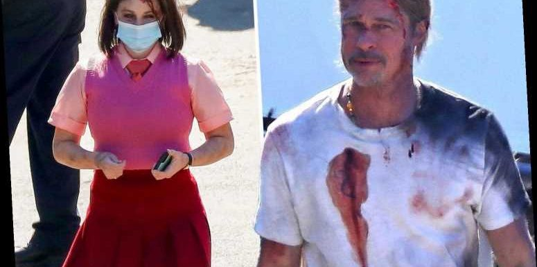 Brad Pitt looks bloody and bruised after crash scene on set of new film Bullet Train with actress Joey King
