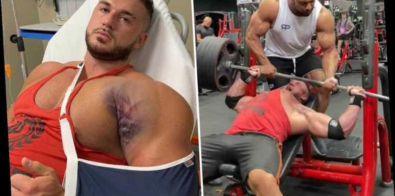 Horrific video shows the moment body builder's pec muscle TEARS in the gym