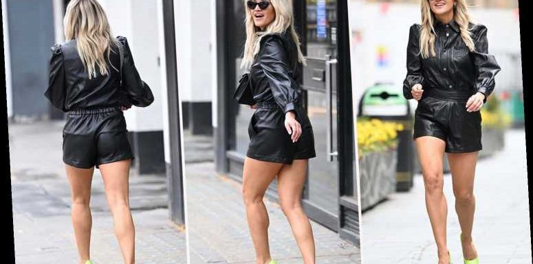 Ashley Roberts flashes her tanned legs in leather shorts as she leaves radio job