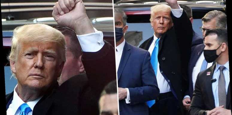 Trump waves to fans at Trump Tower as he returns to Mar-a-Lago after two days 'looking under the hood' of his businesses