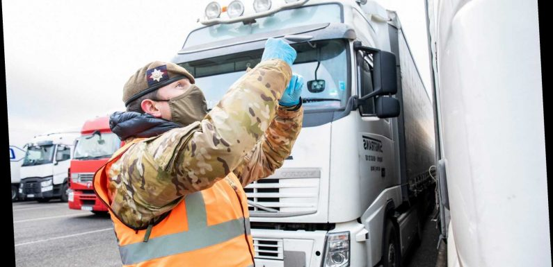 Lorry drivers arriving in UK will have to take Covid test from next week in bid to stop mutant strains