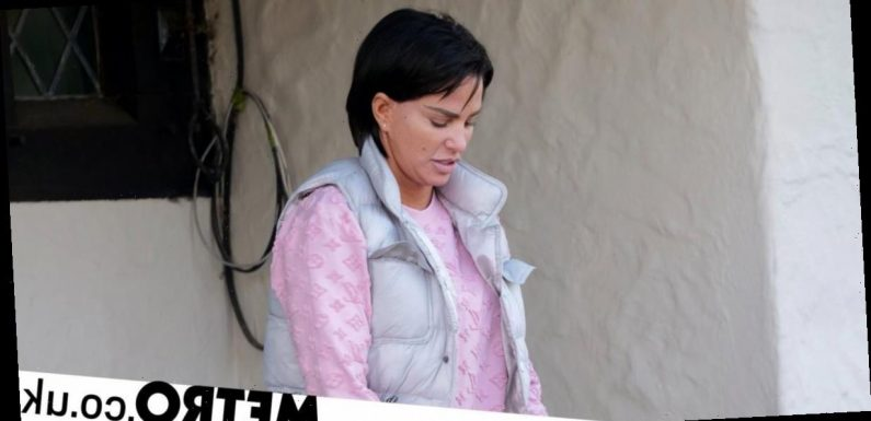 Katie Price supports herself with blinged-up pink zimmer frame amid house move
