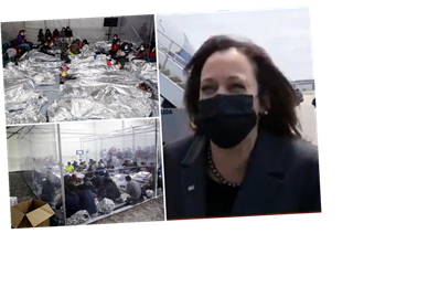 Kamala Harris LAUGHS when asked if she'll visit Mexico border as pics show kids crammed together at facilities