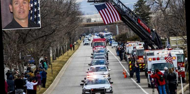 Mourners Line Highway in Boulder as Police Procession Escorts Coffin of Slain Officer Eric Talley