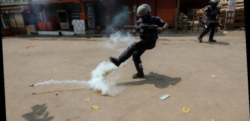 Bangladeshi protesters clash with police during strike