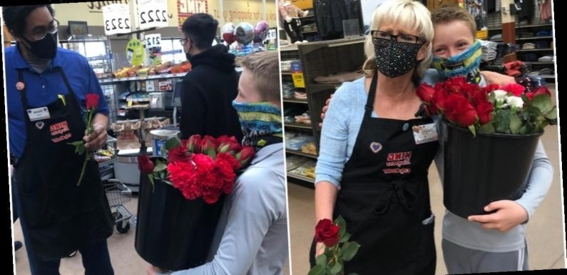 11-year-old boy hands out flowers to grocery store workers after Colorado shooting