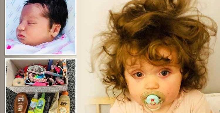 Baby born with full head of thick black hair has more products than her mum