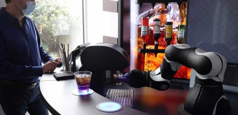 Barney the robot bartender is ready to shake up cocktails