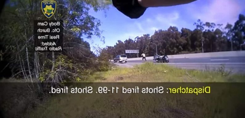 California police bodycam footage captures homicide suspect firing at motorcycle officer