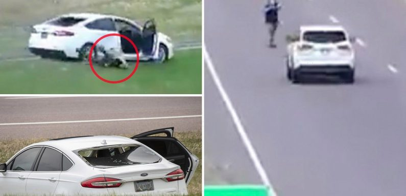 Dramatic moment Minnesota carjacker jumps out of moving vehicle and points gun at driver before being killed by cops