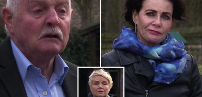 Emmerdale fans baffled by couple's 'super hearing' after hilarious eavesdropping blunder