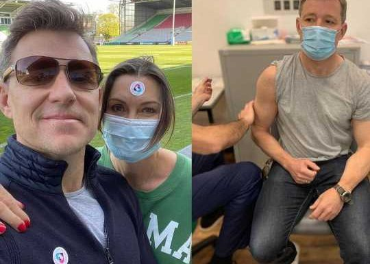 Good Morning Britain's Ben Shephard unveils his muscular arms as he gets his first coronavirus vaccine