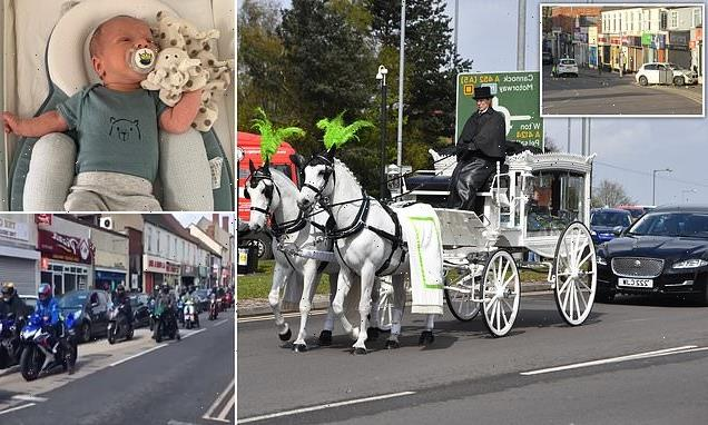 Hundreds line streets for funeral of baby killed when car hit his pram
