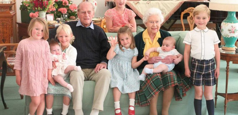 Kate Middleton reveals touching photo of the Queen and Prince Philip surrounded by seven great-grandkids
