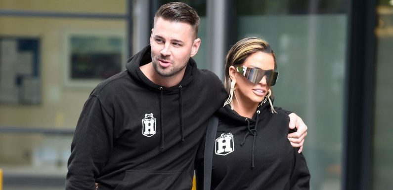 Katie Price and fiancé Carl Woods wear matching couple outfits from Harvey's own clothing range