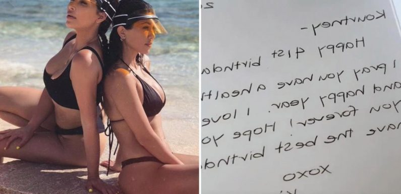 Kourtney Kardashian calls out sister Kim for getting her age wrong on birthday card & says 'last year didn't count!'