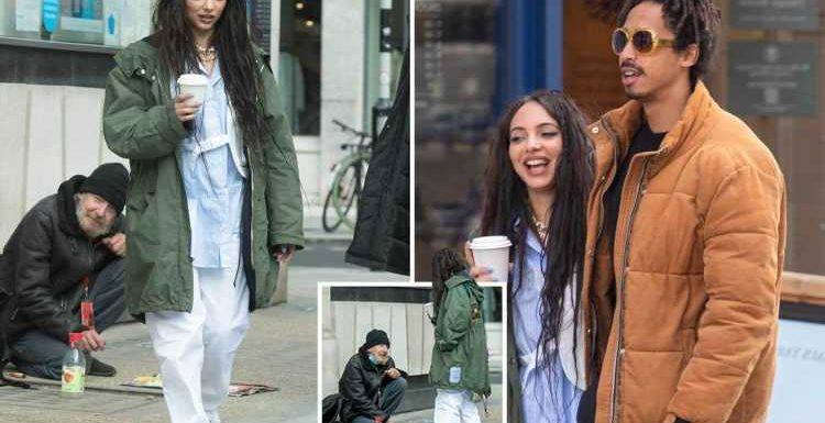 Little Mix's Jade Thirlwall looks besotted on romantic walk with Jordan Stephens as she gives money to homeless man