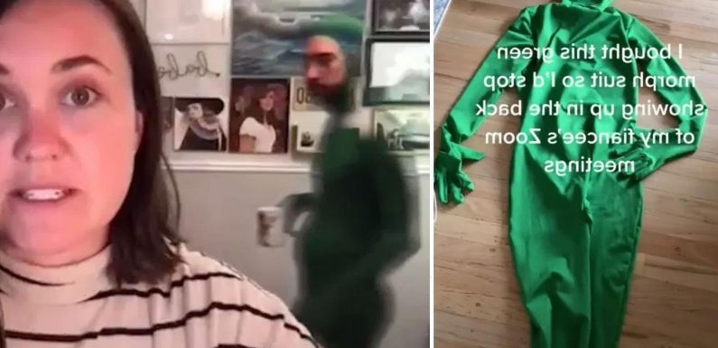 Man buys green 'morphsuit' so he's invisible during girlfriend's Zoom calls and the result has people in stitches