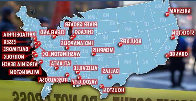 Map reveals where 54 mass shootings erupted over past MONTH as CNN host says there's an 'active shooter situation in US'