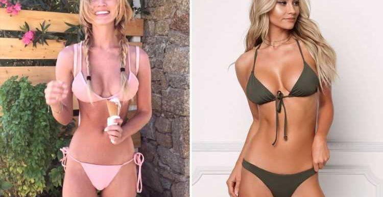 Model Bryana Holly shows off incredible figure in olive green bikini snaps