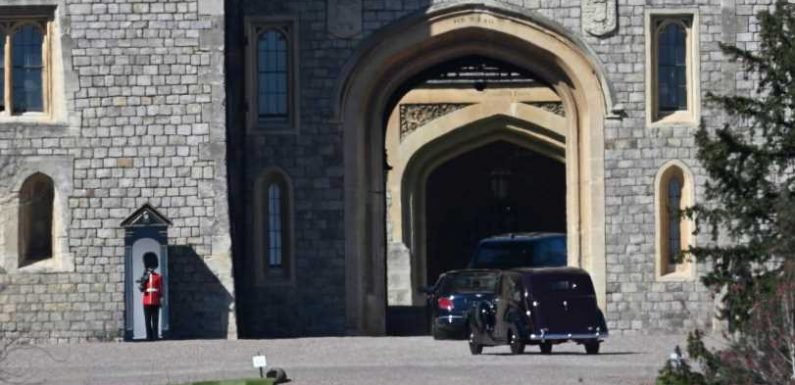 Prince Philip's coffin moved from chapel to Windsor Castle as mourners arrive ahead of royal funeral