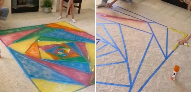Sisters spray-paint mum's carpet because she couldn't afford the fancy rug she wanted & completely divide opinion