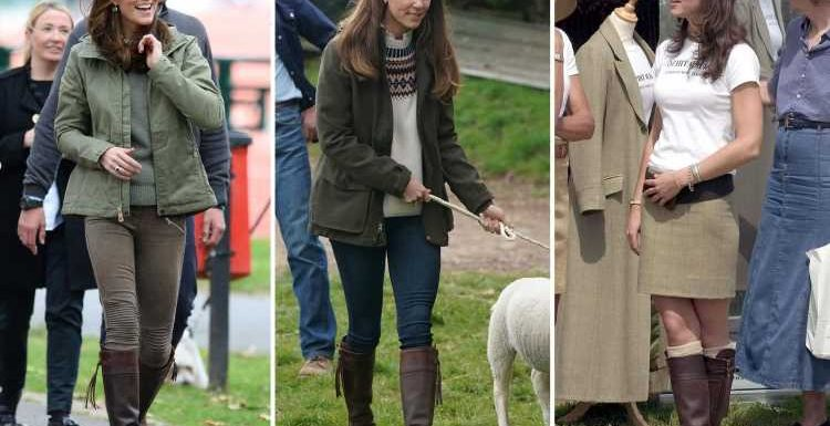Thrifty Kate Middleton wears boots she's had for 17 years as she pets lambs during farm visit with Prince William