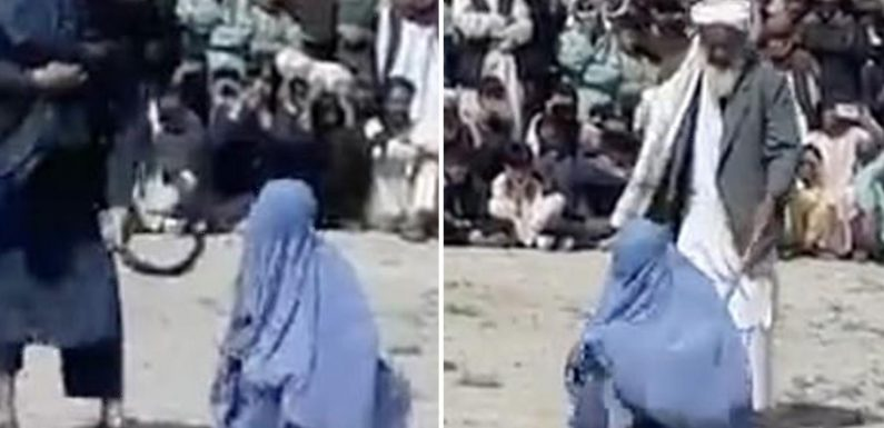 Woman screams for mercy as she is brutally whipped by the Taliban for 'talking to a man on the phone'