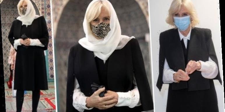 'The Duchess looks stunning': Camilla in classic black & white outfit for visit to Mosque