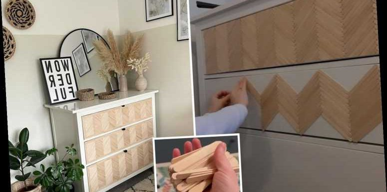 Woman transforms Ikea Hemnes chest of drawers using 1,000 lollipop sticks – and it only cost her £15