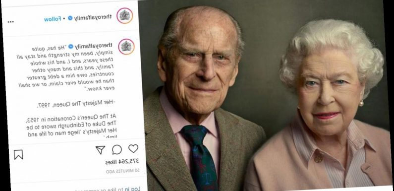 Queen shares touching photo tribute to 'strength and stay' Prince Philip day after husband of 73 years dies